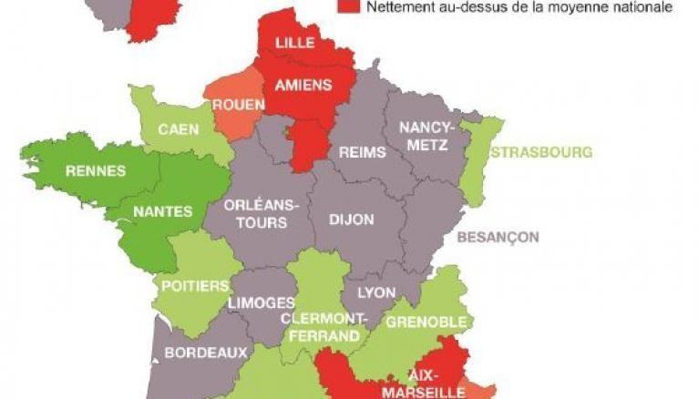 Les décrocheurs sont présents de façon majoritaire dans le nord et le sud-est de la France.