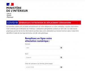 Le générateur d'attestation de déplacement dérogatoire en ligne sur le site du Ministère de l'Intérieur