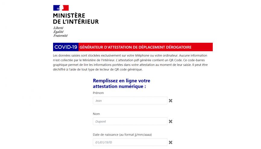 Le générateur d'attestation de déplacement dérogatoire en ligne sur le site du Ministère de l'Intérieur //©Ministère de l'intérieur