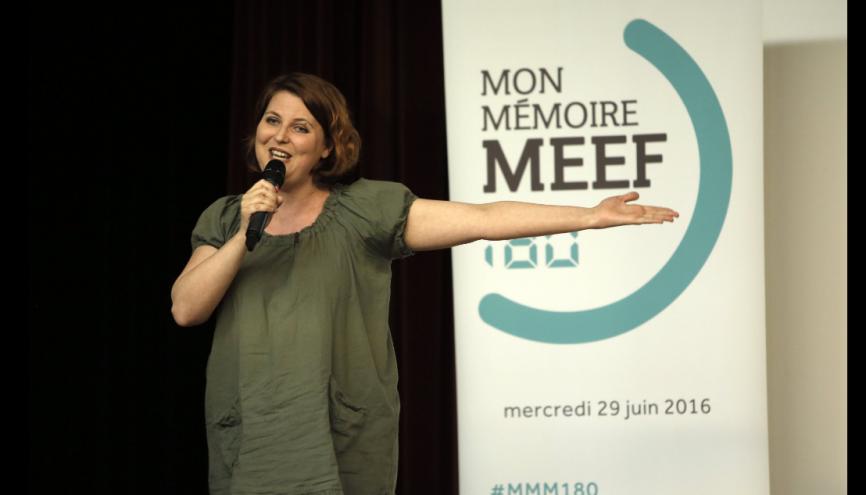 """Aude, gagnante de la première édition du concours """"Mon mémoire MEEF en 180 secondes"""", a travaillé sur l'impact de la musique sur l'apprentissage de la lecture. //©ministère de l'Enseignement supérieur et de la recherche"""