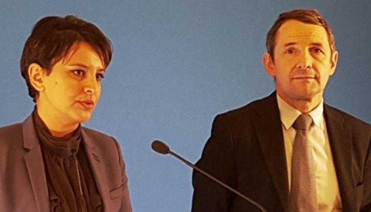 Najat Vallaud-Belkacem et Thierry Mandon lors de la conférence de presse spécial APB, le 8 décembre 2015, à Paris.