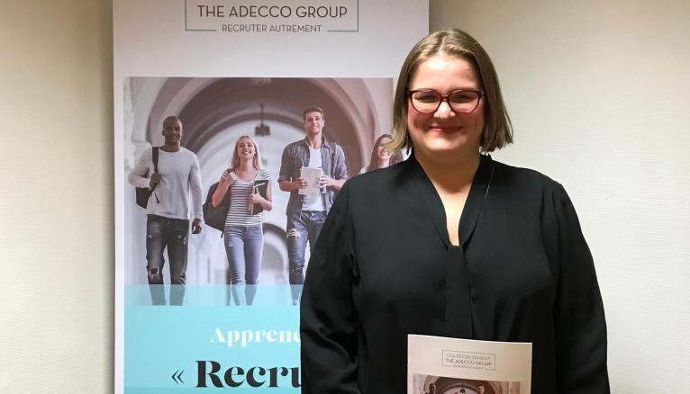Justine 28 ans apprentie recruteur chez The Adecco Group