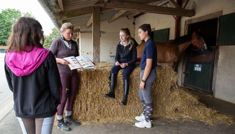 La pratique hebdomadaire s'accompagne de cours théoriques sur le cheval, l'alimentation,les soins et même le comportement. Lucy est passionnée.