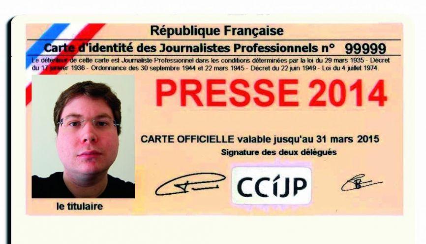 Carte de presse de Guénaël, journaliste Web. //©Photo fournie par le témoin