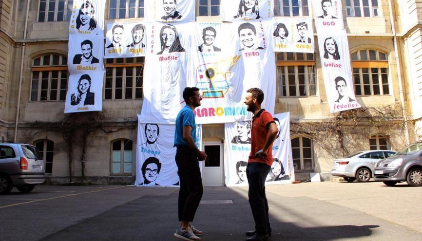 Thibault et Martin, élèves des mines ParisTech et présidents des listes concurrentes lors de la campagne BDE 2019. //©Aude Lorriaux