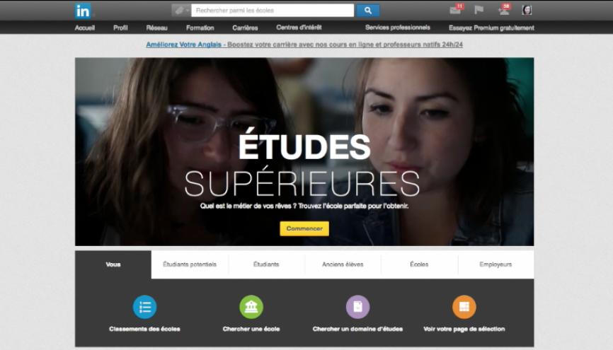 Le réseau social professionnel LinkedIn s'intéresse désormais au marché de l'éducation. //©l'Etudiant