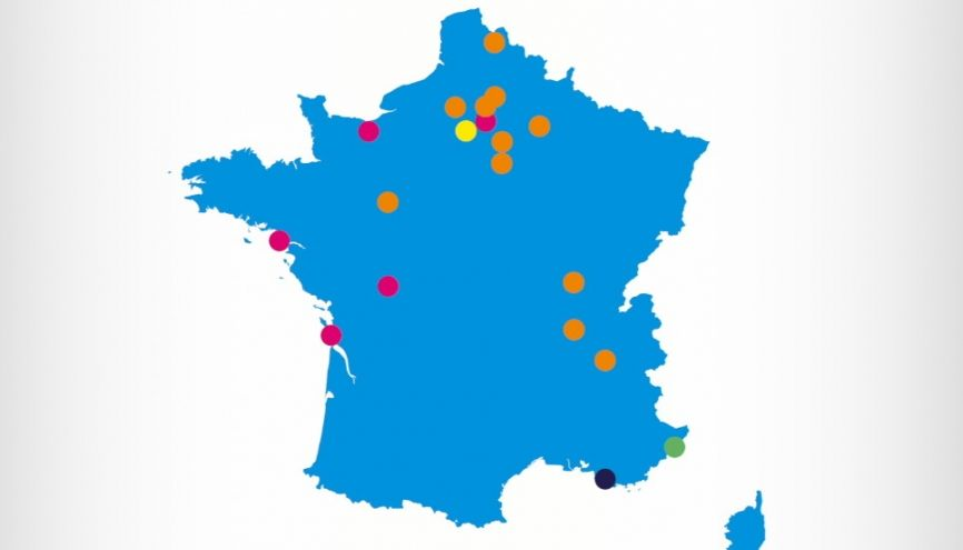 """La carte de France des lycées """"différents"""" //©Clémentine Simonet"""