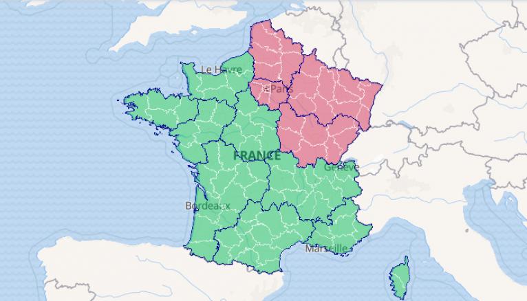 La carte de France du déconfinement. Crédit : data.gouv.fr / Ministère de la Santé et des Solidarités