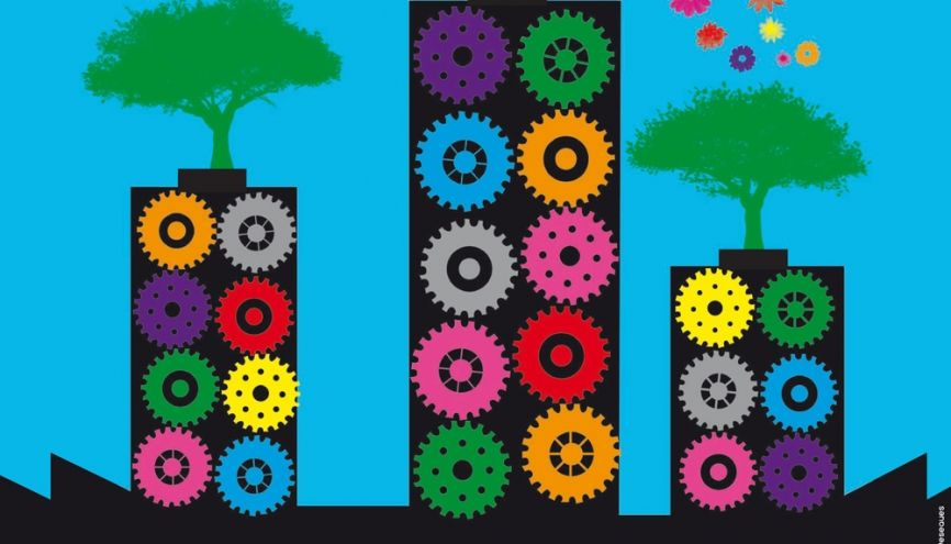 Une des œuvres du concours d'affiches de la 6e Semaine de l'industrie conçue par les élèves de terminale bac pro du lycée Maximilien-Vox à Paris. //©DGE (direction générale des entreprises)