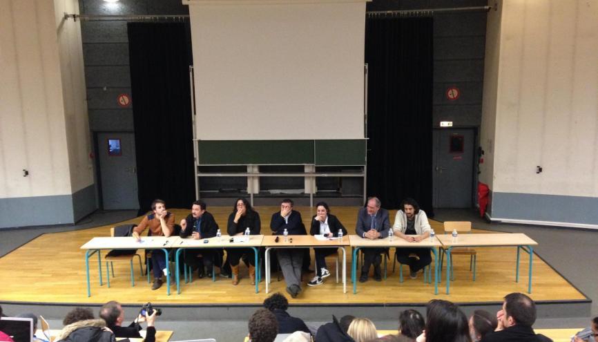 Les étudiants de l'UNEF ont organisé une rencontre, avec notamment Shiam Assbague, Edwy Plenel et Benjamin Stora, sur les valeurs de la République, à l'université de Villetaneuse. //©Isabelle Dautresme