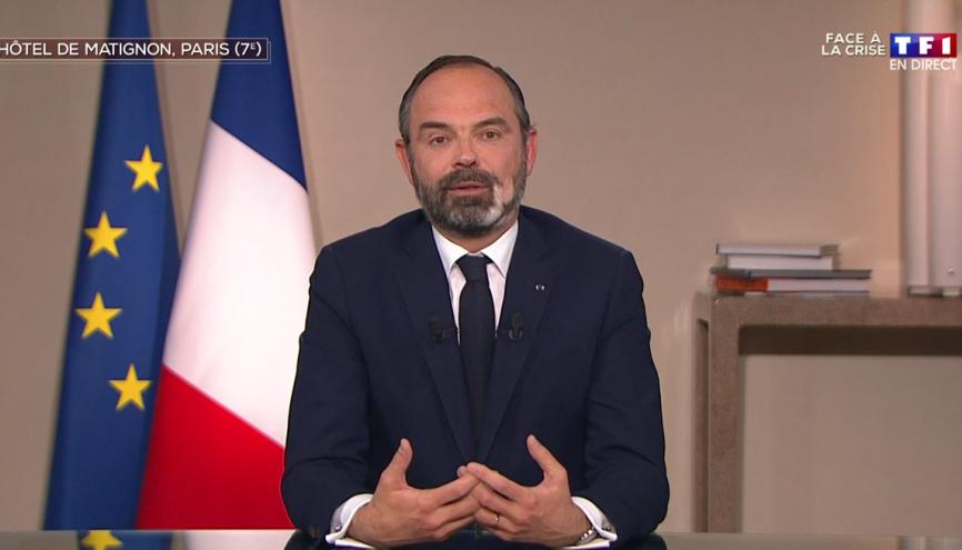 """Le premier ministre Edouard Philippe a confirmé ce jeudi que le bac 2020 """"ne se déroulera pas dans des conditions normales"""". //©Capture d'écran TF1"""