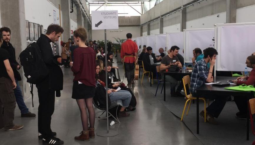 L'école Émile-Cohl organise chaque année une journée de recrutement pour ses futurs diplômés avec des entreprises de l'édition, de l'animation et du jeu vidéo. //©Laura Taillandier