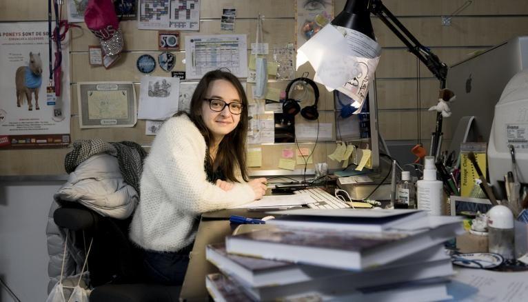 Marion Montaigne dans son atelier d'artistes, à Paris, en janvier 2018.