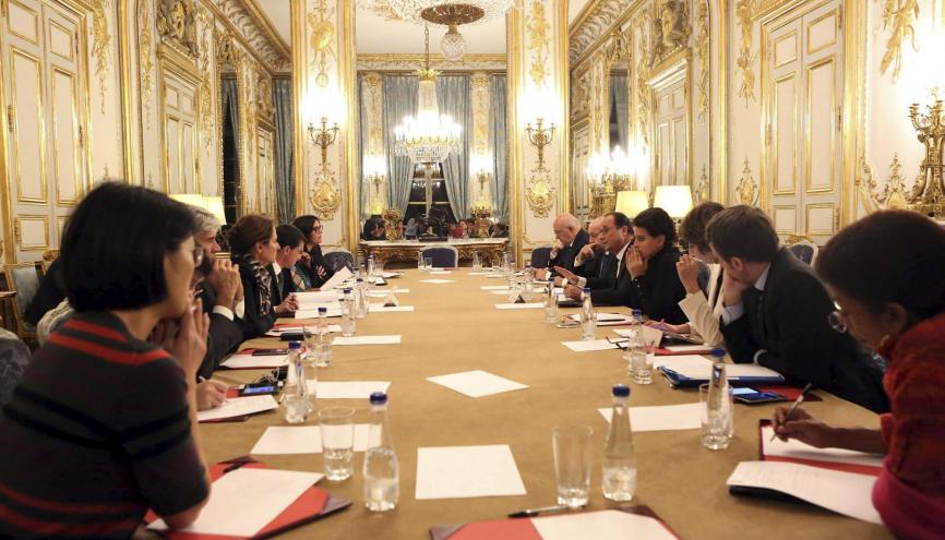Vendredi 13 novembre 2015, dans la nuit, Conseil des ministres convoqué par François Hollande suite aux attentats en Ile-de-France. //©Christelle Alix/The New York Times-REDUX-REA