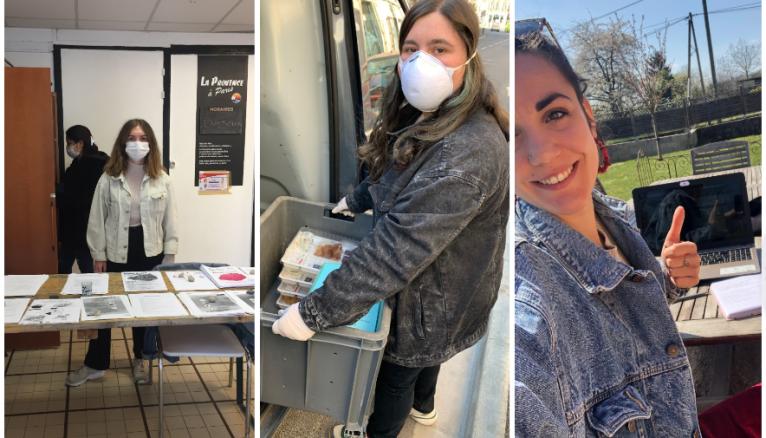 Heloise, Julie et Romane, trois volontaires en service civique mobilisées pendant la crise sanitaire.