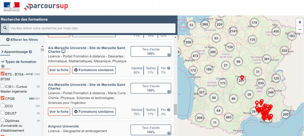 Les premiers résultats de vos recherches apparaissent sur Parcoursup. //©Capture d'écran