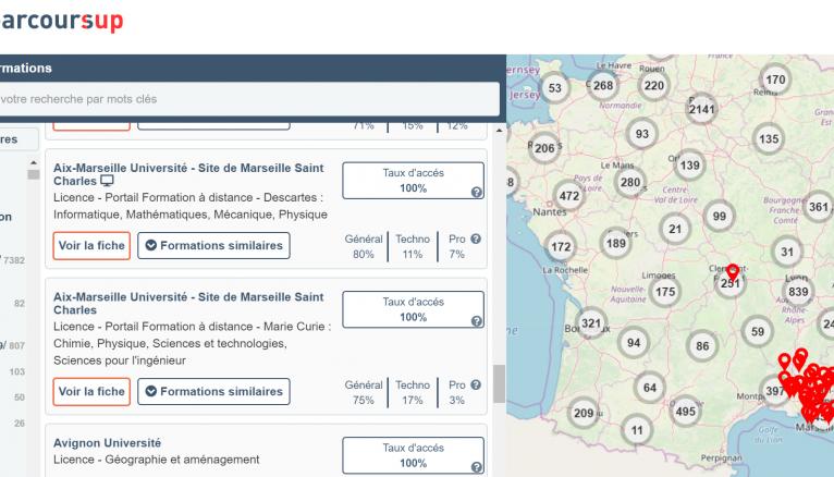 Les premiers résultats de vos recherches apparaissent sur Parcoursup.