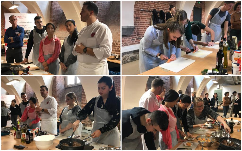 Les étudiants de l'IAE de Lille en pleine préparation de leur plat. //©Pauline Bluteau