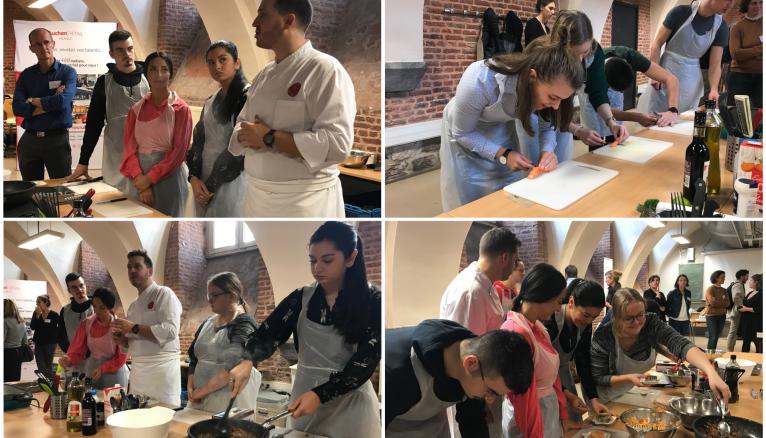 Les étudiants de l'IAE de Lille en pleine préparation de leur plat.