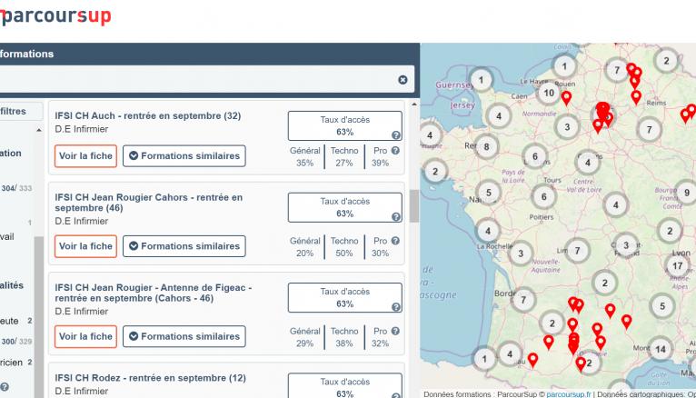 La carte interactive doit vous aider à trouver les formations qui vous conviennent en fonction des critères définis.