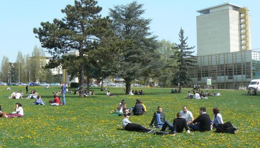 """L'été, avec ses larges pelouses parsemées d'étudiants, le campus """"à l'américaine"""" de l'UB prend des airs de Californie. //©université de Bourgogne"""