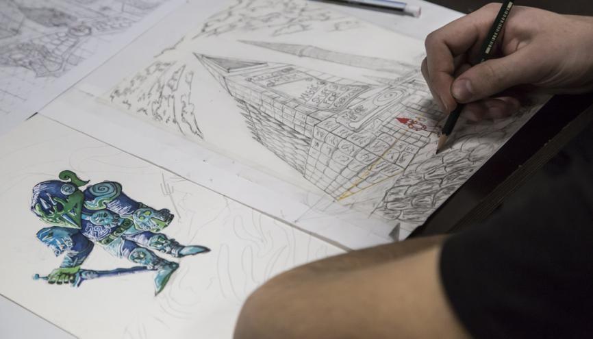 Le dessin est un passage obligé pour les étudiants qui se destinent à l'animation ou aux jeux vidéo. Ici, un cours de perspective en première année à Isart Digital. //©Laurent Hazgui/Divergence pour l'Etudiant