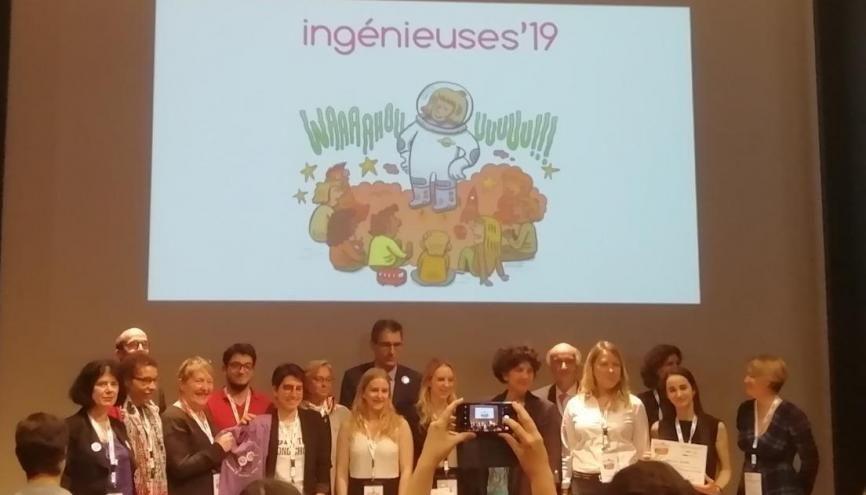Les lauréats d'Ingénieuses 19 autour de la ministre de l'Enseignement supérieur Frédérique Vidal. //©Clément Rocher