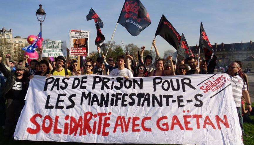 Manifestation du 9 avril 2015 à Paris, Solidaires Etudiant-e-s défile en soutien pour Gaëtan. //©Solidaires étudiant-e-s