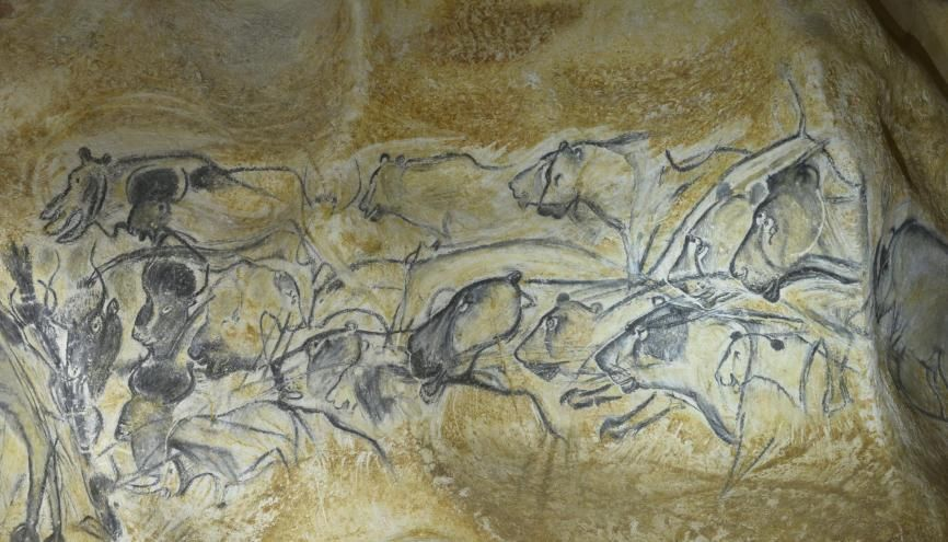 La fresque des lions dans la caverne du Pont d'Arc, réplique de la grotte Chauvet. //©Patrick ALLARD/REA