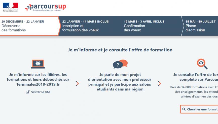 Depuis le 20 décembre 2018, le site Parcoursup.fr est de nouveau accessible. Vous pouvez connaître en détails le calendrier 2018-2019 et commencer à réfléchir à votre orientation. //©Parcoursup