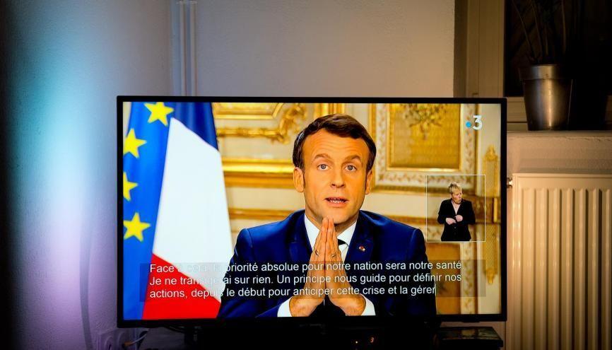 Emmanuel Macron lors de son allocution télévisée, jeudi 12 mars 2020. //©Laurent Cerino/REA