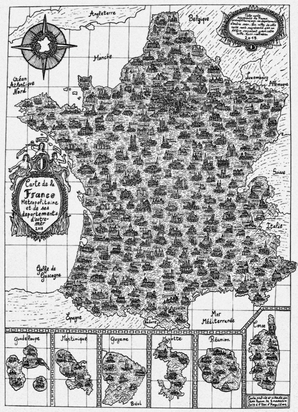 La carte de France du jeune étudiant de l'EESI. © Pablo Raison //©Pablo Raison