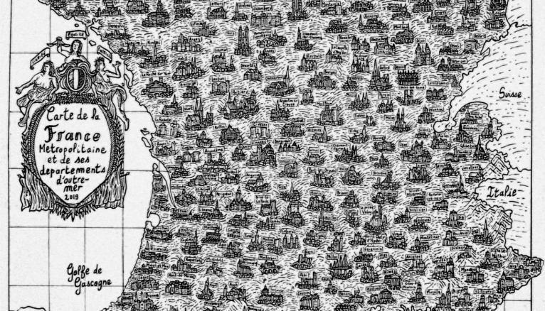 La carte de France du jeune étudiant de l'EESI. © Pablo Raison