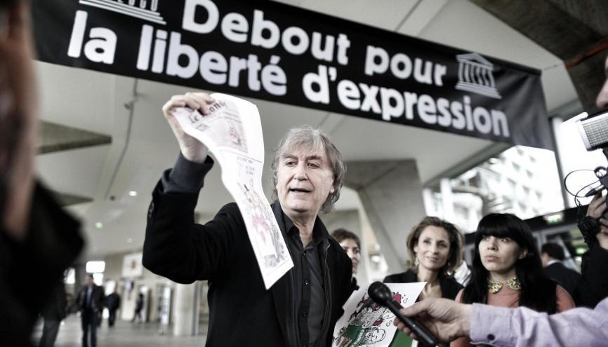 Plantu, dessinateur : débat sur la liberté d'expression à l'UNESCO, le 14 janvier 2015, une semaine après l'attentat à Charlie Hebdo. //©Denis Allard/REA