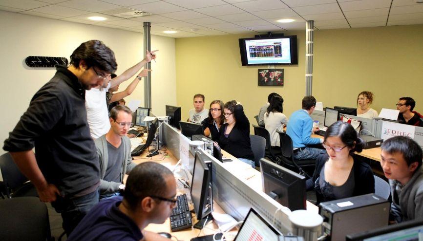 La finance, l'une des spécialités phares de l'EDHEC, fait l'objet de plusieurs MSc. Ici celui de finance, du campus de Nice. //©Hervé Touroude / EDHEC