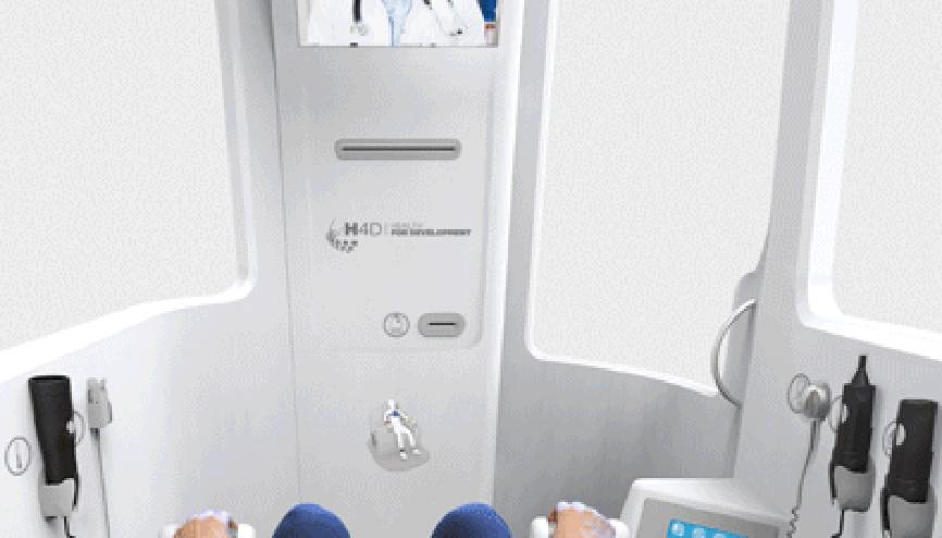 La Consult Station® permet de réaliser un bilan de santé en une dizaine de minutes. //©Capture d'écran de h-4-d.com/la-consult-station/