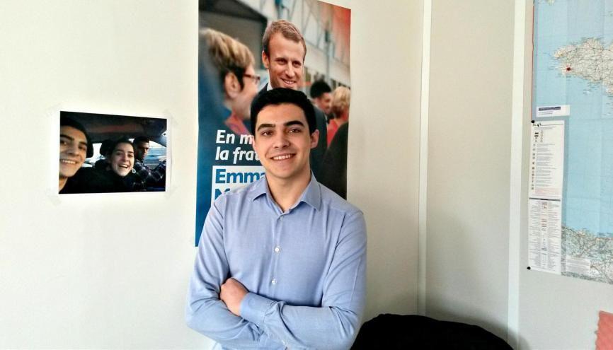 Rémy, 19 ans, engagé dans la campagne d'Emmanuel Macron. //©Catherine de Coppet