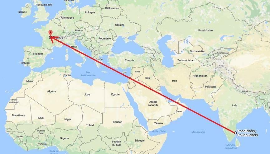Le bac à Pondichéry, en Inde : une idée de ce qui peut tomber en France métropolitaine en juin. //©Google maps