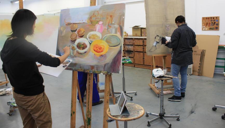 L'atelier de peinture de l'ENSAD. //©Sophie de Tarlé