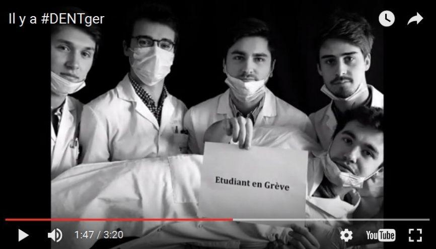Les étudiants en chirurgie dentaire de Reims ont posté sur les réseaux sociaux une vidéo virale pour exprimer leurs revendications. //©Capture d'écran