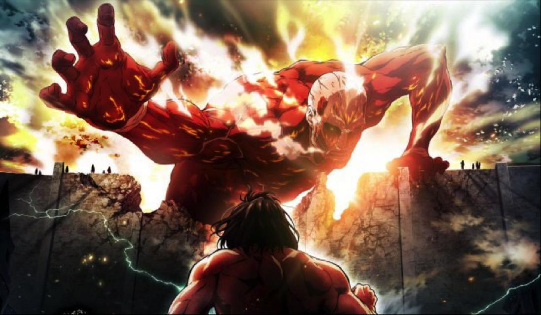 """Even face au titan colossal dans l'""""Attaque des titans"""". //©Journal du Geek"""