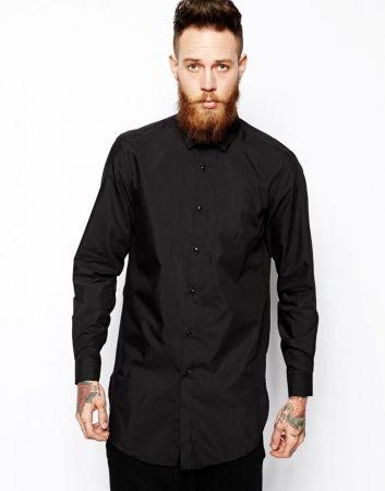 style homme chemise noir. Black Bedroom Furniture Sets. Home Design Ideas