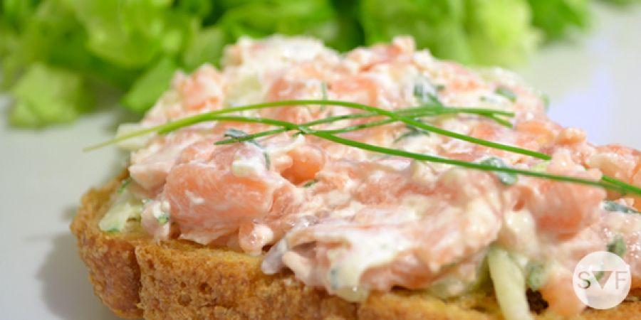 Recette de la tartine saumon fumé et philadelphia