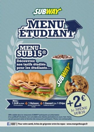 food bon plan un menu au tarif tudiant chez subway. Black Bedroom Furniture Sets. Home Design Ideas